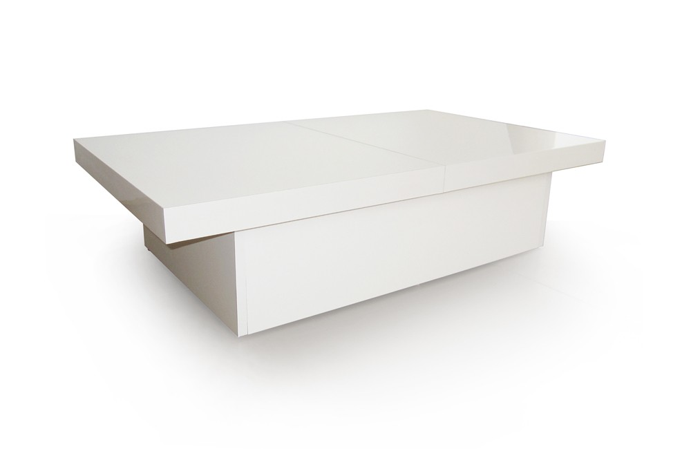 Table basse laqu e blanc s rie tango meubles cahen - Table basse ouvrante ...